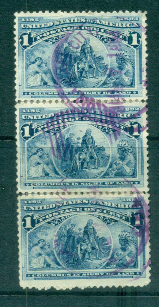 USA 1893 Sc#230 1c Columbian Exposition Str 3 FU lot67173