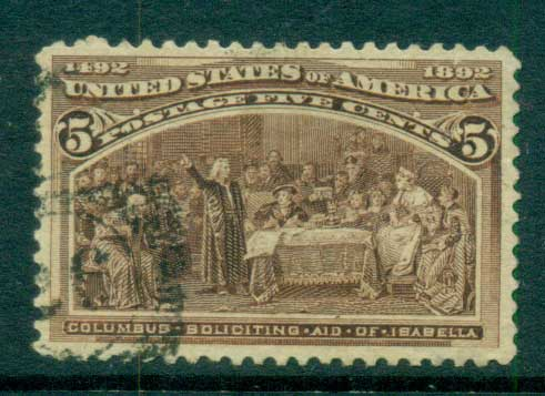 USA 1893 Sc#234 5c Columbian Exposition FU lot67185