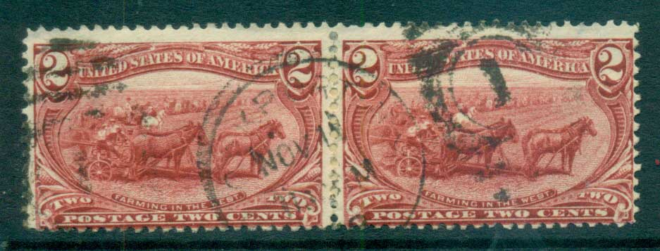 USA 1898 Sc#286 2c Trans-Mississippi Exposition pair FU lot67214