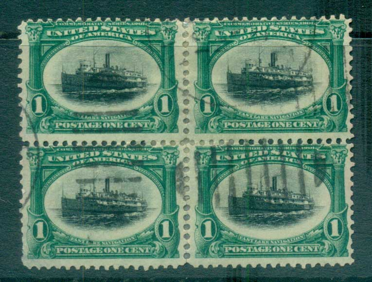 USA 1901 Sc#294 1c Pan-American Exposition blk 4 FU lot67224