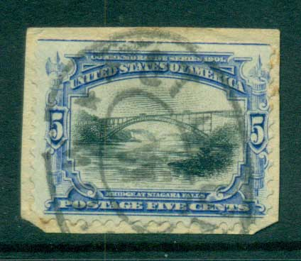 USA 1901 Sc#297 5c Pan-American Exposition on piece FU lot67229