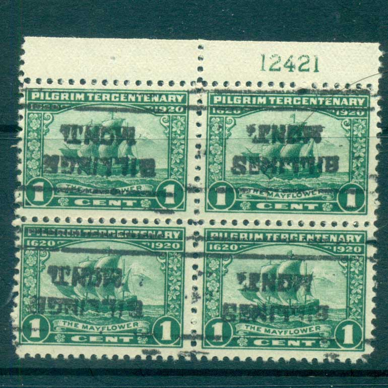 USA 1920 Sc#548 Pilgrim Tercentenary 1c PB4#12421 Precancel Billings, IllinoisFU lot67330