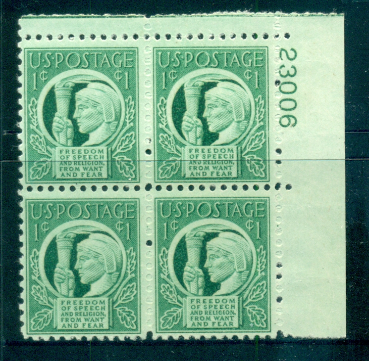 USA 1943 Sc#908 Four Freedoms PB#23006 MUH lot67605