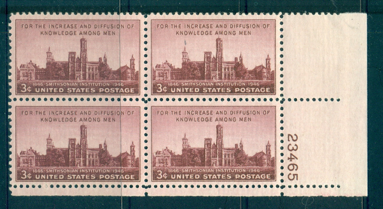 USA 1946 Sc#943 Smithsonian Institution PB#23465 MUH lot67626