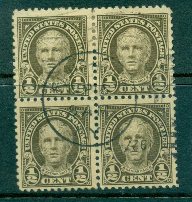 USA 1922-25 Sc#551 1/2c Nathan Hale P11 (Flat Plate) Blk 4 FU lot67781