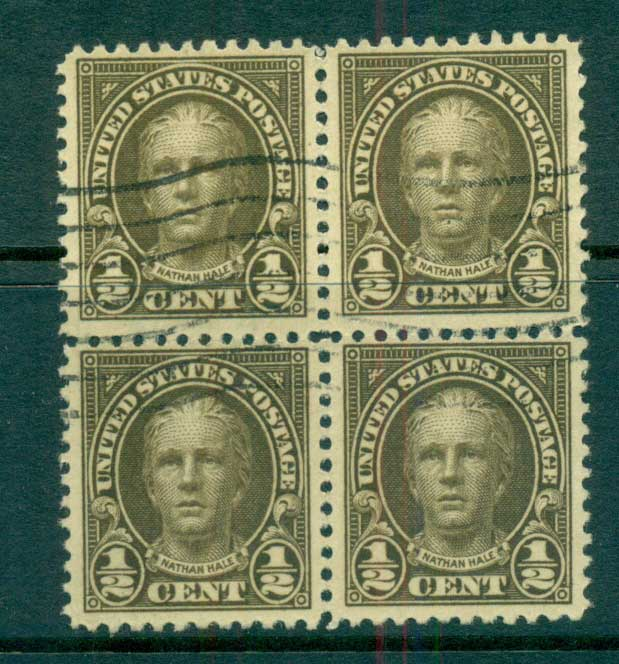 USA 1922-25 Sc#551 1/2c Nathan Hale P11 (Flat Plate) Blk 4 FU lot67782