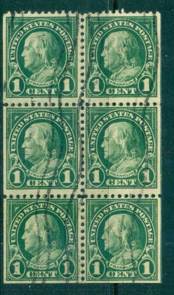 USA 1922-25 Sc#552a 1c Franklin Booklet Pane P11 (Flat Plate) FU lot67785