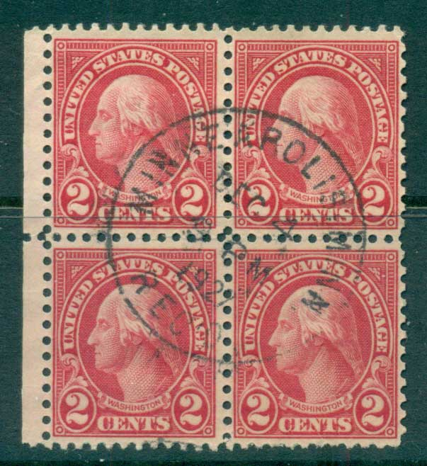 USA 1922-25 Sc#554 2c Washington Blk 4 P11 (Flat Plate) FU lot67791