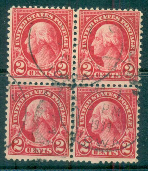 USA 1922-25 Sc#554 2c Washington Blk 4 P11 (Flat Plate) FU lot67792