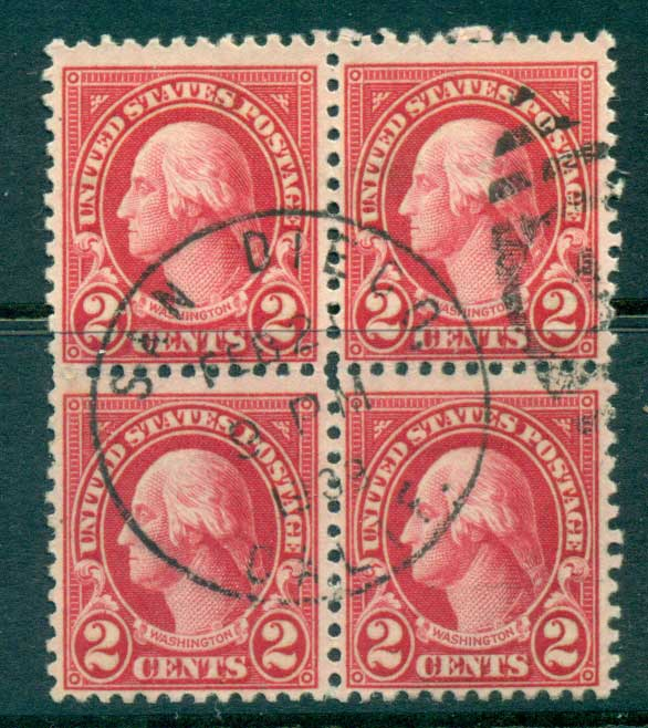 USA 1922-25 Sc#554 2c Washington Blk 4 P11 (Flat Plate) FU lot67793