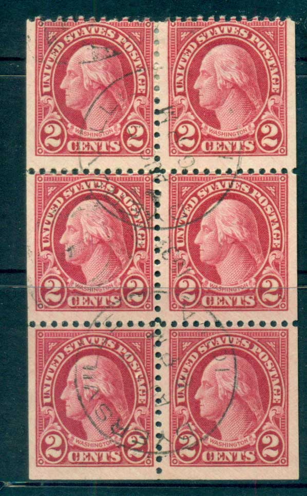 USA 1922-25 Sc#554c 2c Washington Booklet pane P11 (Flat Plate) FU lot67799