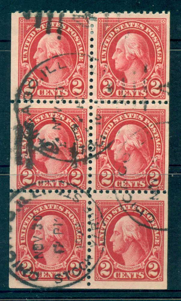 USA 1922-25 Sc#554c 2c Washington Booklet pane P11 (Flat Plate) FU lot67801