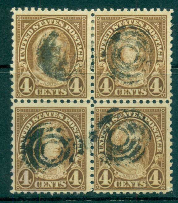 USA 1922-25 Sc#556 4c Martha Washington Blk 4 P11 (Flat Plate) FU lot67806