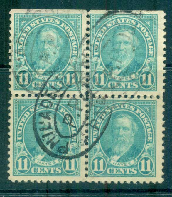 USA 1922-25 Sc#563 11c Hayes Blk 4 P11 (Flat Plate) FU lot67825