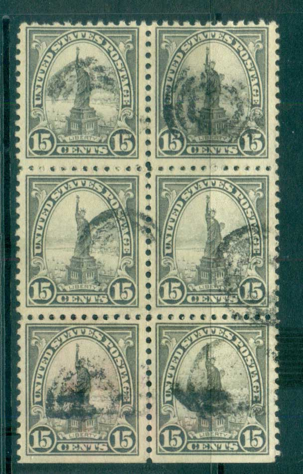 USA 1922-25 Sc#566 15c Statue of Liberty Blk 6 P11 (Flat Plate) FU lot67843