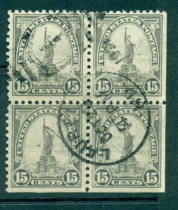 USA 1922-25 Sc#566 15c Statue of Liberty Blk 4 P11 (Flat Plate) FU lot67845