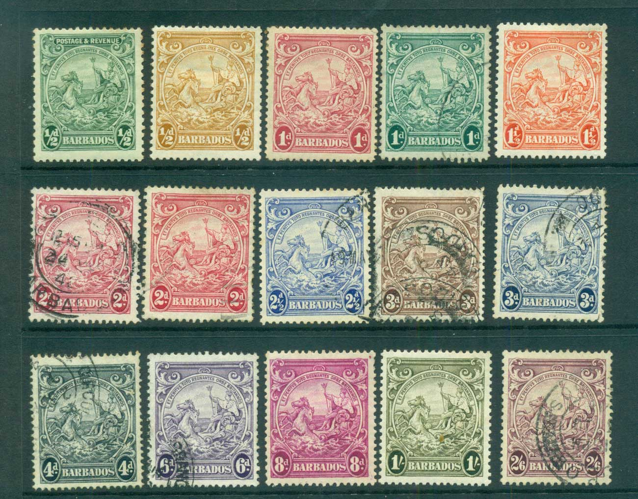 Barbados 1938-47 KGVI Seahorses, not perf checked, priced as cheapest to 2/6d MH/FU lot68171