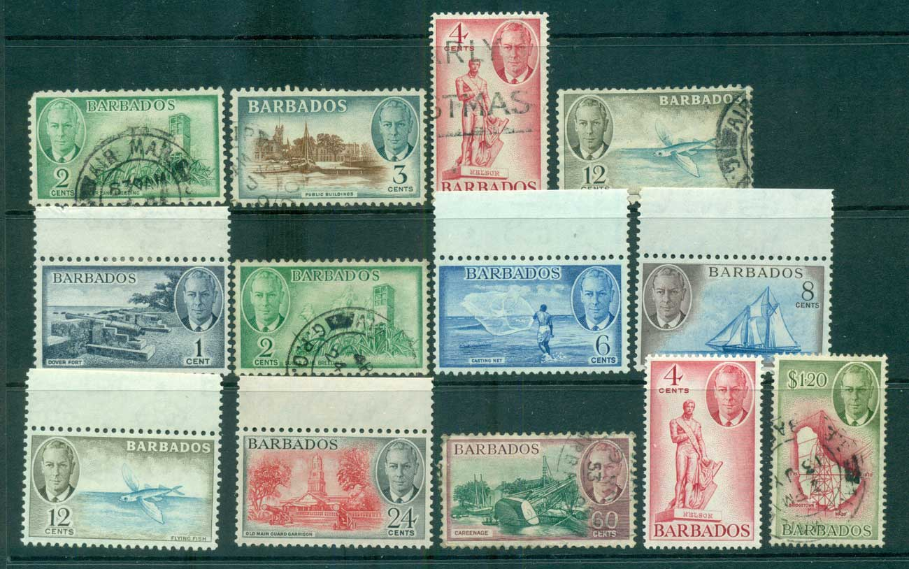 Barbados 1950 KGVI Pictorials Asst MLH/FU lot68172