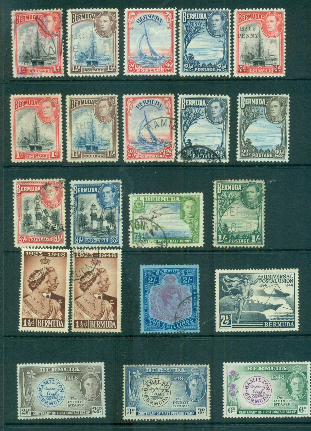 Bermuda 1938 on KGVI Assorted oddmens MLH/FU lot68182
