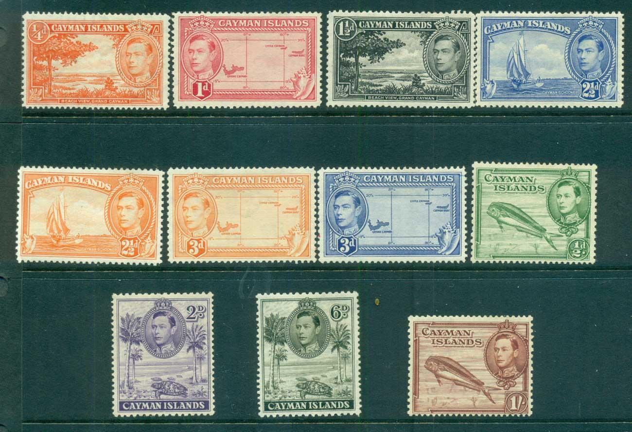 Cayman is 1938 KGVI Defins Asst to 1/- MLH lot68201