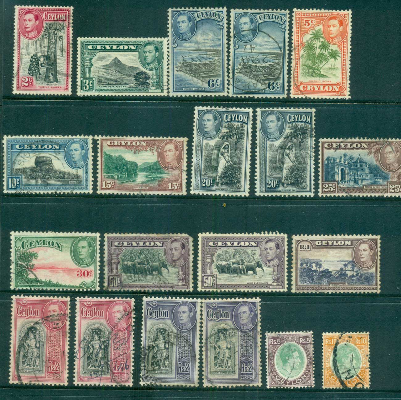 Ceylon 1938-52 KGVI Pictorials Asst, not perf checked, priced as cheapest, 10R telegraph Puncture FU lot68209