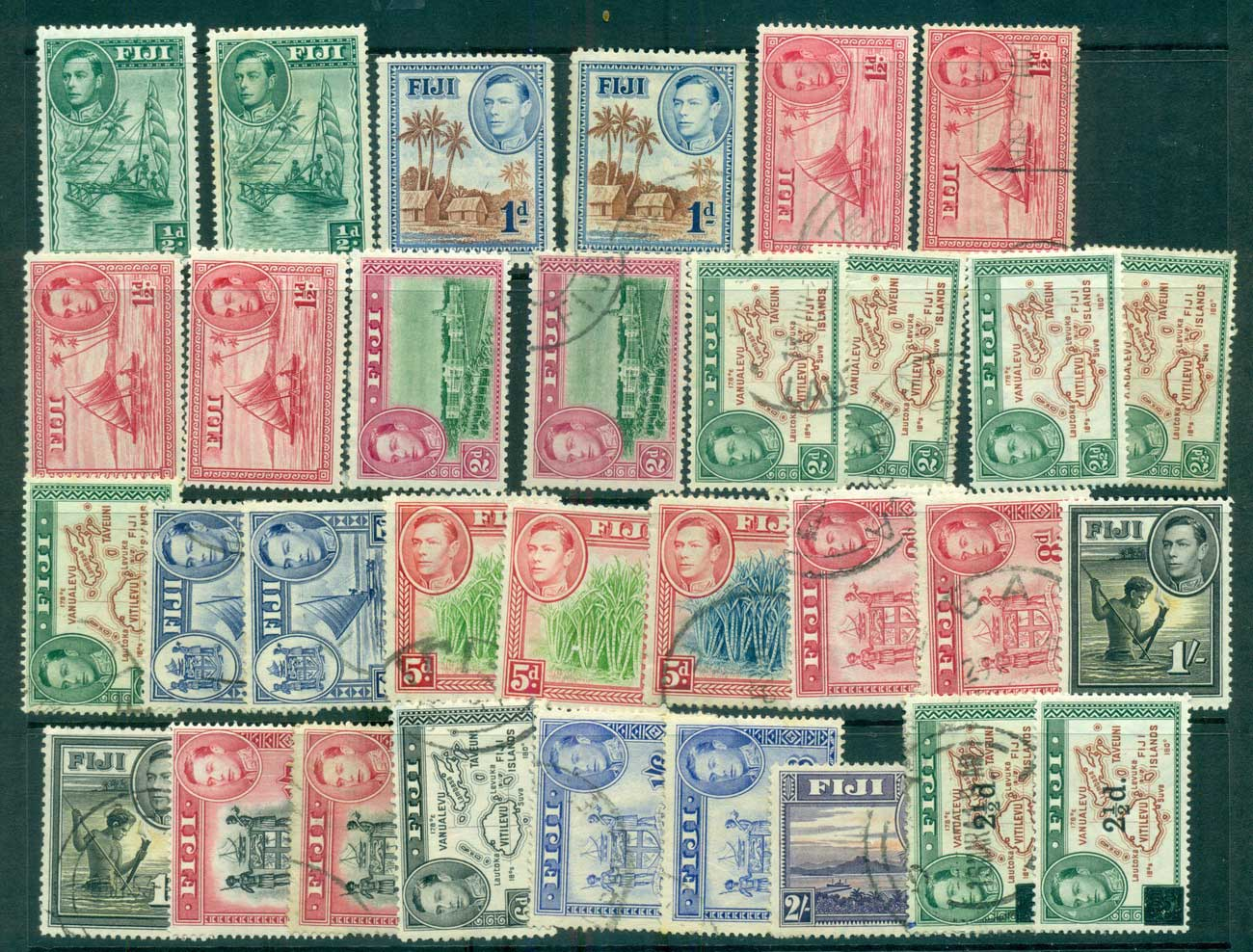Fiji 1938-55 KGVI Pictorials Asst inc 5d blue canes MLH/FU lot68234