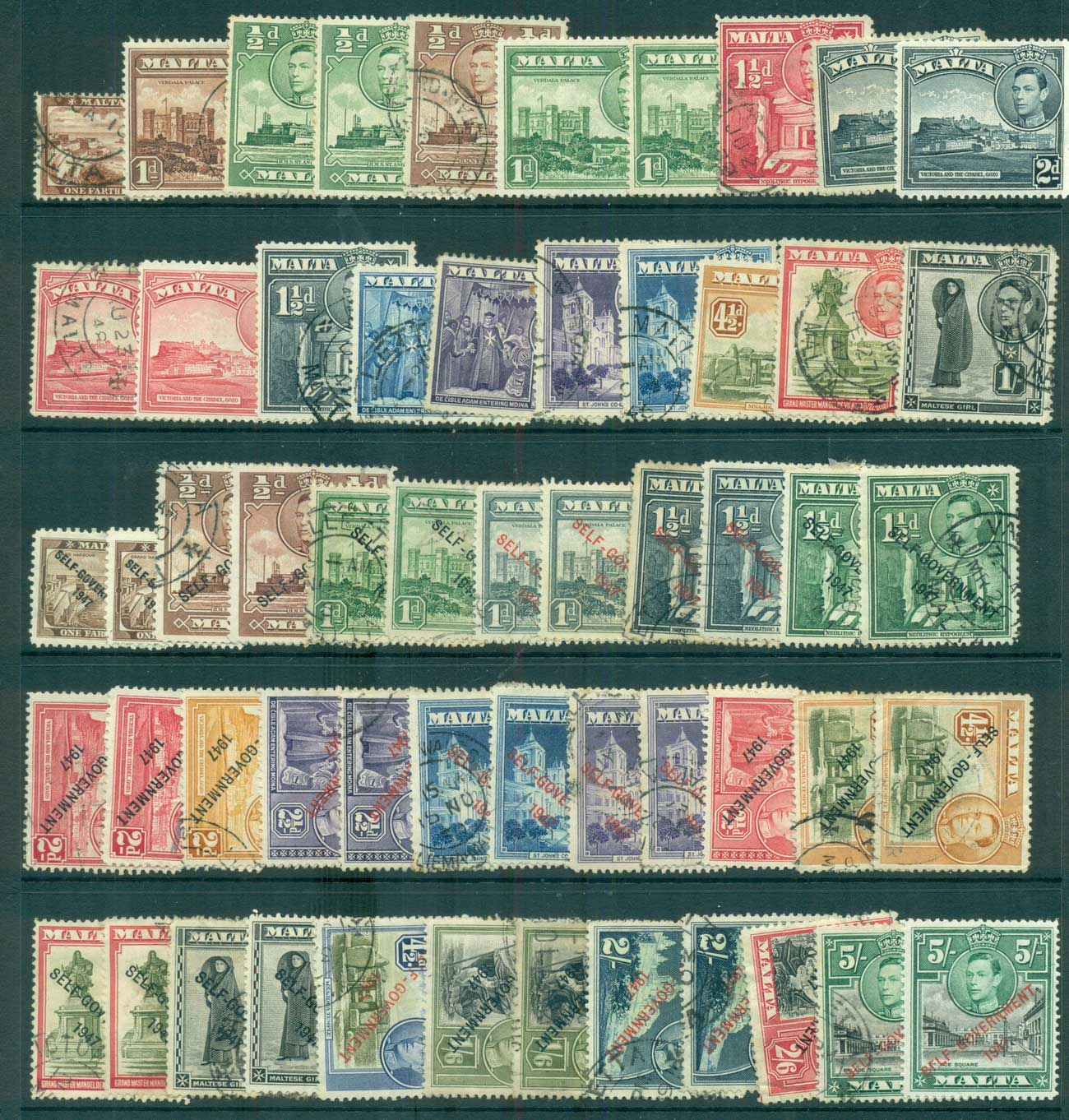 Malta 1938-48 KGVI Assorted oddments MLH/FU lot68311