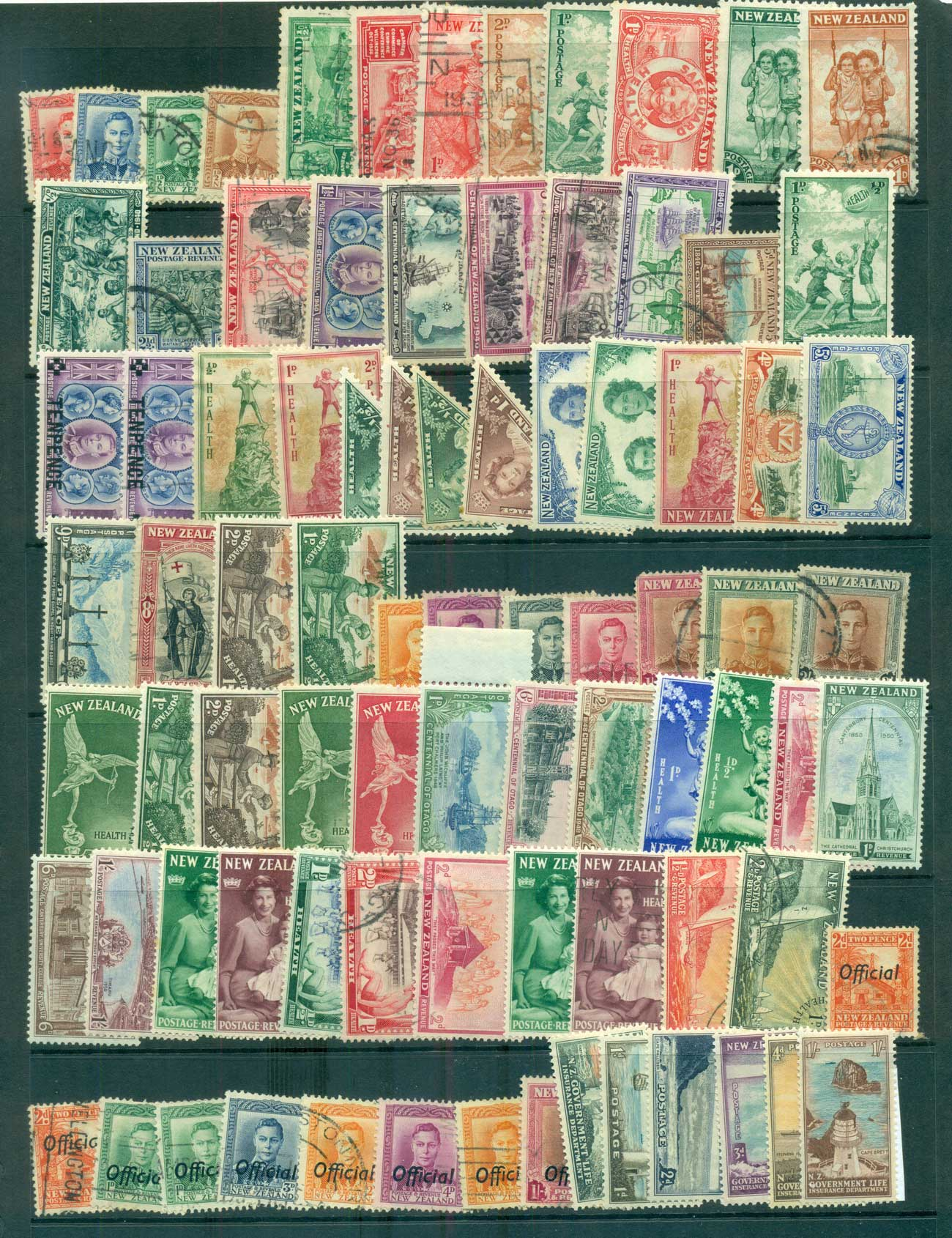 New Zealand 1940s on KGVI Assorted oddments FU/MH lot68353