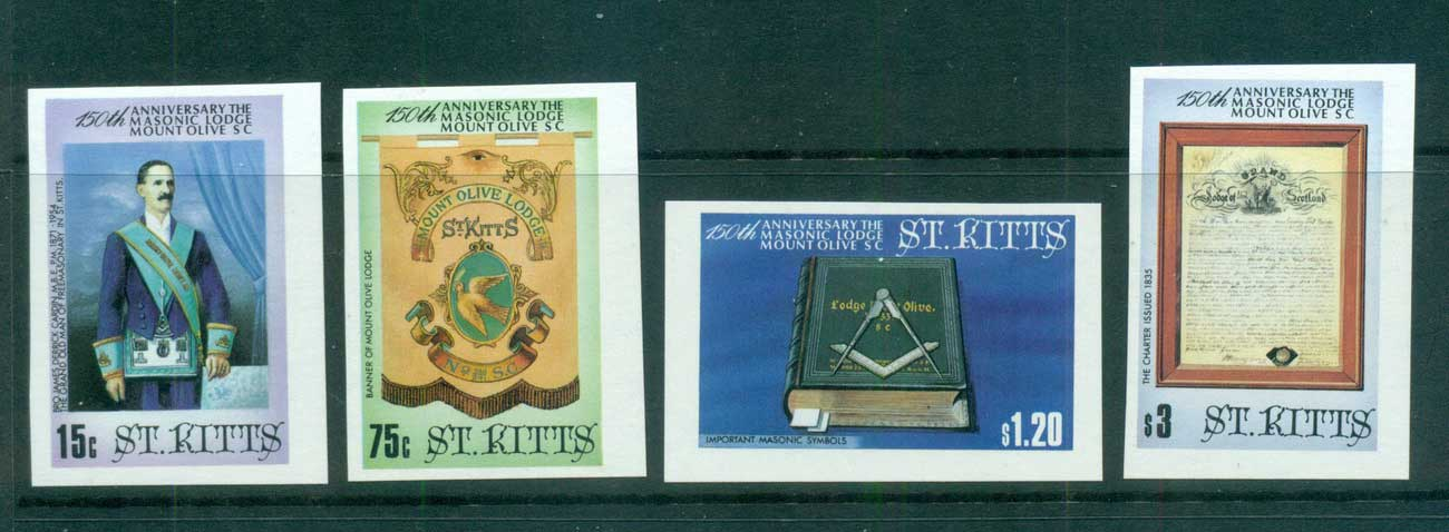 St Kitts 1985 Mt. Olive Masonic Lodge IMPERF MUH lot68463