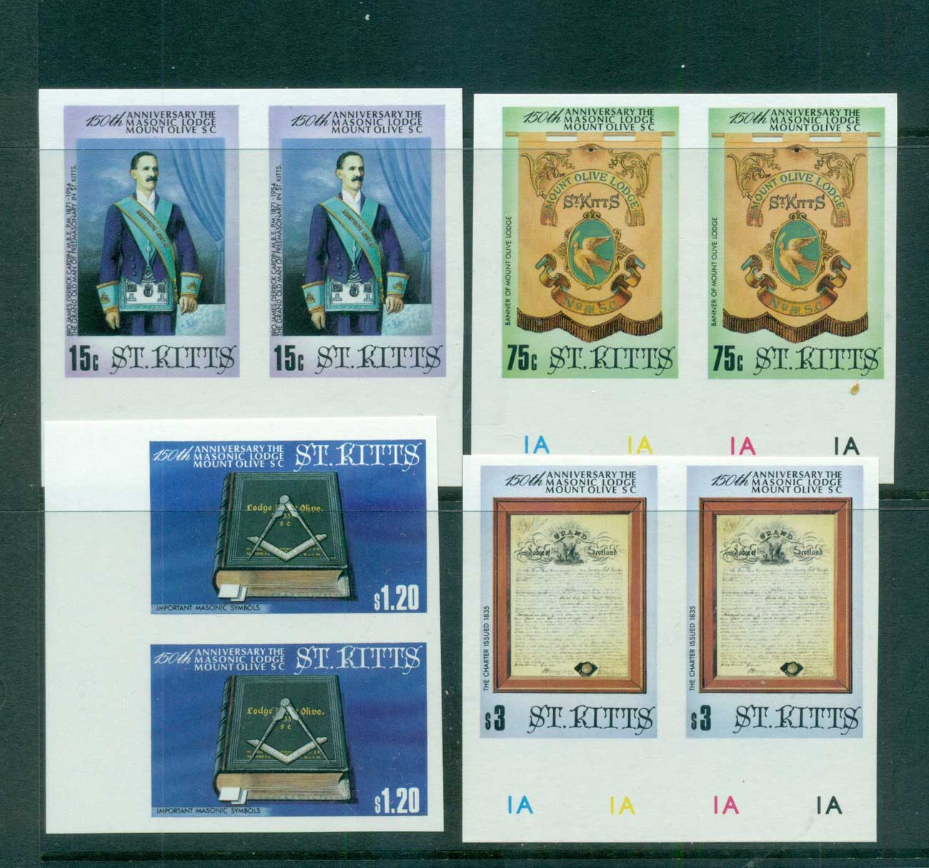 St Kitts 1985 Mt. Olive Masonic Lodge IMPERF pair MUH lot68466