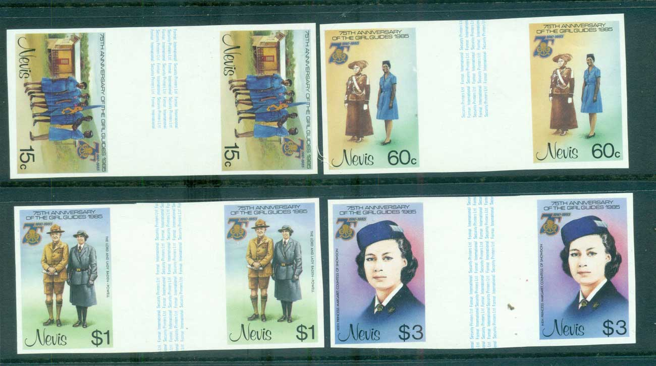 Nevis 1985 Girl Guides IMPERF gutter pairs MUH lot68600