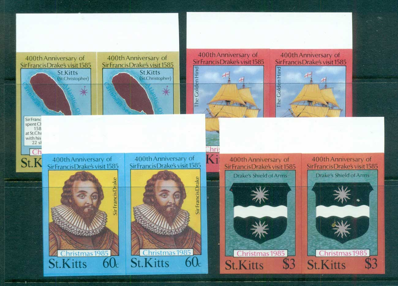 St Kitts 1985 Xmas IMPERF pairs MUH lot68622