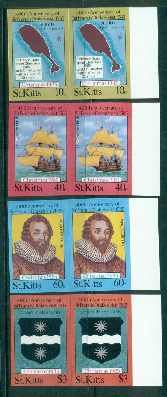 St Kitts 1985 Sir Francis Drake IMPERF pairs MUH lot68710
