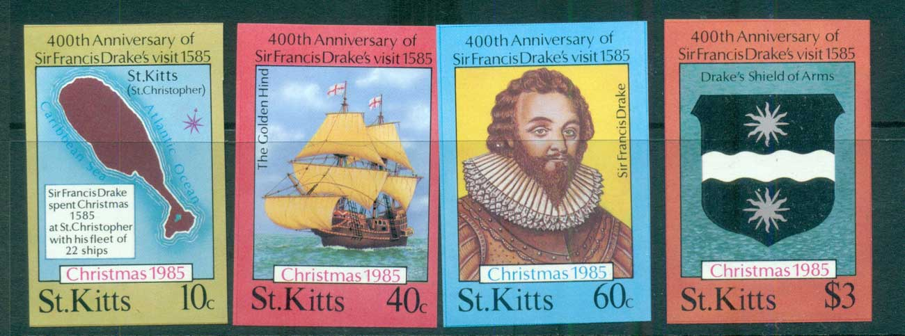 St Kitts 1985 Sir Francis Drake IMPERF MUH lot68713
