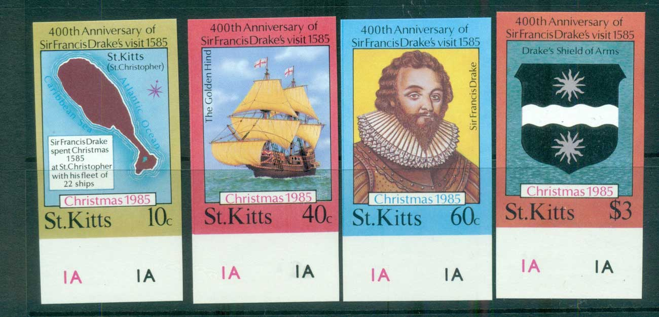 St Kitts 1985 Sir Francis Drake IMPERF MUH lot68715