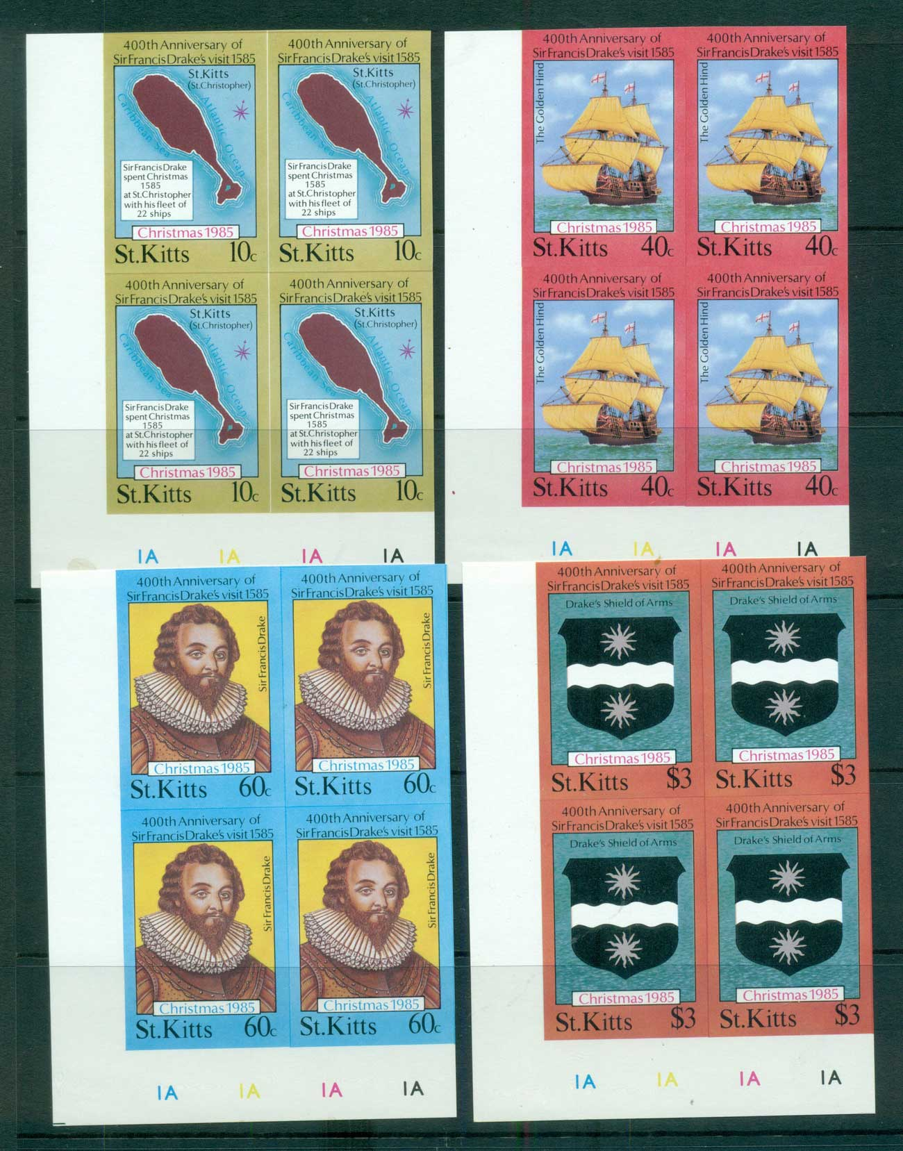 St Kitts 1985 Sir Francis Drake IMPERF Cyl. Blks 4 MUH lot68718