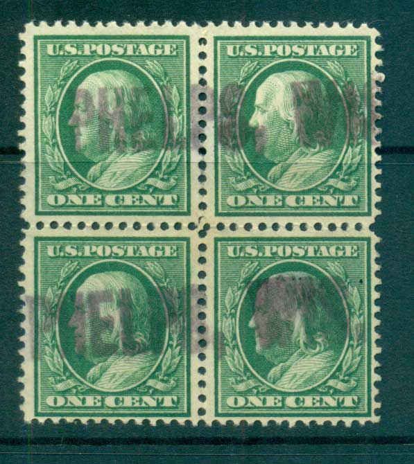 USA 1910-11 Sc#374 1c Green Franklin Perf 12 Wmk S/L 3mm spacings Blk 4 FU lot68808