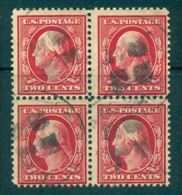 USA 1910-11 Sc#375 2c Carmine Washington Perf 12 Wmk S/L 3mm spacings Blk 4 FU lot68809