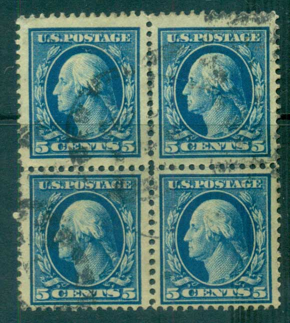 USA 1910-11 Sc#378 5c blue Washington Perf 12 Wmk S/L 3mm spacings Blk 4 FU lot68812