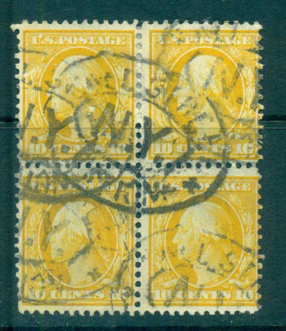 USA 1910-11 Sc#381 10c yellow Franklin Perf 12 Wmk S/L 2mm spacings Blk 4 FU lot68813