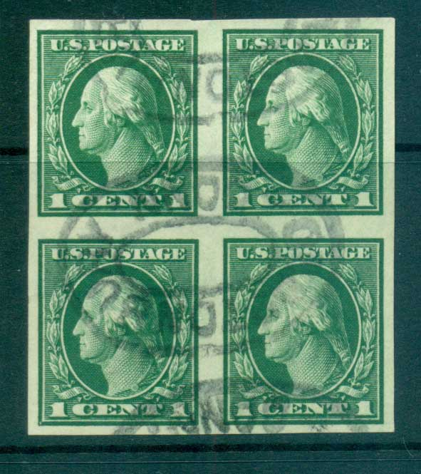 USA 1912 Sc#408 1c green Washington IMPERF Wmk S/L Blk 4 FU lot68814
