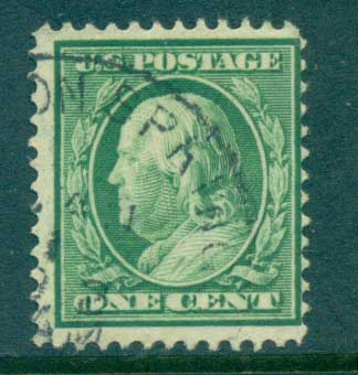 USA 1910-11 Sc#374 1c green Franklin Perf 12 Wmk S/L FU lot68907