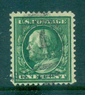 USA 1910-11 Sc#374 1c green Franklin Perf 12 Wmk S/L FU lot68909