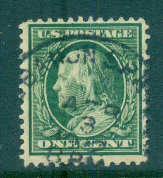 USA 1910-11 Sc#374 1c green Franklin Perf 12 Wmk S/L FU lot68910