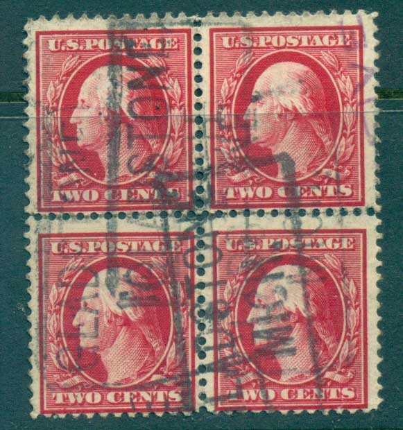 USA 1910-11 Sc#375 2c carmine Washington Perf 12 Wmk S/L 2mm spacing Blk 4 FU lot68918