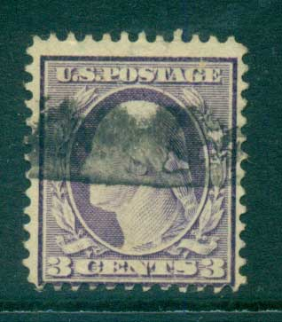 USA 1910-11 Sc#376 3c deep violet Washington TyI Perf 12 Wmk S/L FU lot68920