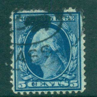 USA 1910-11 Sc#378 5c blue Washington Perf 12 Wmk S/L FU lot68929