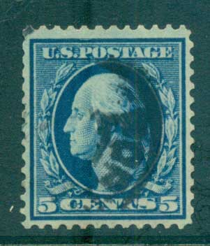 USA 1910-11 Sc#378 5c blue Washington Perf 12 Wmk S/L FU lot68935