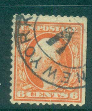 USA 1910-11 Sc#379 6c red orange Washington Perf 12 Wmk S/L FU lot68937