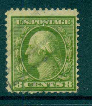 USA 1910-11 Sc#380 8c olive green Washington Perf 12 Wmk S/L FU lot68941